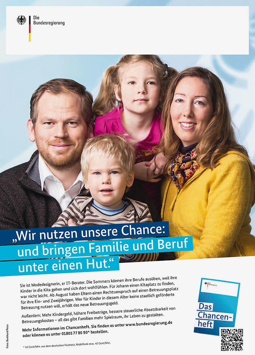 """Anzeige """"Wir nutzen unsere Chance: und bringen Familie und Beruf"""